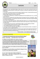 Blanche - Neige et les sept nains - Lecture - EDL - Décrochage scolaire : 4eme, 5eme, 6eme Primaire