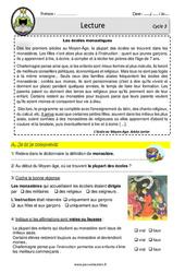 Les écoles monastiques au Moyen âge - Lecture - EDL - Décrochage scolaire : 4eme, 5eme, 6eme Primaire
