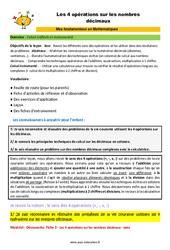 Les 4 opérations sur les nombres décimaux - SEGPA - EREA - Décrochage scolaire : 4eme, 5eme, 6eme Primaire