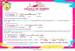 Calculs de durées au  - Affiche : 4eme, 5eme Primaire