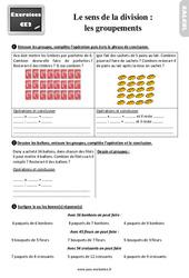 Exercices, révisions sur le sens de la division - les groupements au  avec les corrections : 3eme Primaire