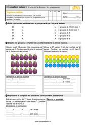 Évaluation, bilan sur le sens de la division - les groupements au  avec la correction : 3eme Primaire