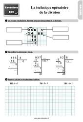 Exercices, révisions sur la technique opératoire de la division au  avec les corrections : 3eme Primaire