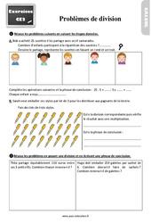 Exercices, révisions sur les problèmes de division au  avec les corrections : 3eme Primaire