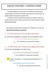 Exprimer l'hypothèse - Conditions Clause - Cours : 3eme Secondaire