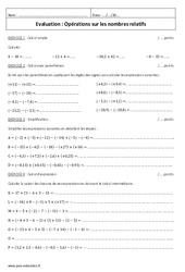 Opérations sur les nombres relatifs - Additionner deux nombres relatifs - Examen Contrôle : 1ere Secondaire