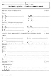 Ecritures fractionnaires - Examen Evaluations sur les opérations : 1ere Secondaire
