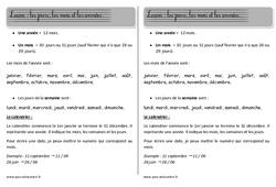 Mois - calendrier - Séquence - Fiche de préparation : 1ere, 2eme Primaire