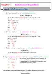 Calculs sans parenthèses - Cours - Enchaînements d'opérations : 1ere Secondaire