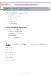 Calculs sans parenthèses - Révisions - Exercices avec correction - Enchaînements d'opérations : 1ere Secondaire