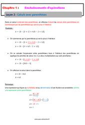 Calculs avec parenthèses - Cours - Enchaînements d'opérations : 1ere Secondaire