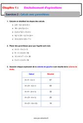 Calculs avec parenthèses - Révisions - Exercices avec correction - Enchaînements d'opérations : 1ere Secondaire
