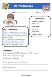 On Wednesday - Anglais - Lecture - Level 3 : 4eme, 5eme Primaire