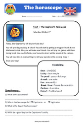 The horoscope - Anglais - Lecture - Level 4 : 4eme, 5eme Primaire