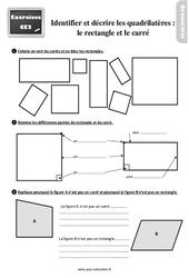 Exercices, révisions sur identifier et décrire les quadrilatères (rectangles et carrés) au  avec les corrections : 3eme Primaire