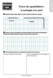 Exercices, révisions sur tracer des quadrilatères- Fiches le rectangle et le carré au  avec les corrections : 3eme Primaire