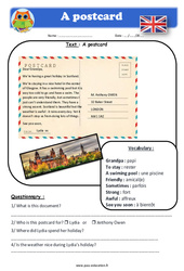A postcard - Anglais - Lecture - Level 4 : 4eme, 5eme Primaire