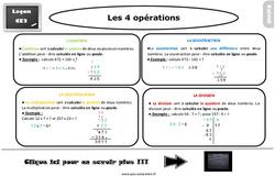 Leçon, trace écrite sur les 4 opérations au  : 3eme Primaire