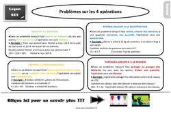 Leçon, trace écrite sur les problèmes sur les 4 opérations au  : 3eme Primaire