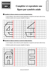 Exercices, révisions sur compléter et reproduire une figure par symétrie axiale au  avec les corrections : 3eme Primaire
