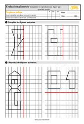 Évaluation, bilan sur compléter et reproduire une figure par symétrie axiale au  avec la correction : 3eme Primaire