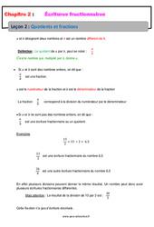 Quotients et fractions - Cours - Écritures fractionnaires : 1ere Secondaire