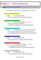 Critères de divisibilité - Cours - Écritures fractionnaires : 1ere Secondaire