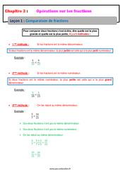 Comparaison de fractions - Cours : 1ere Secondaire