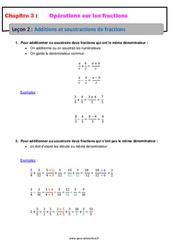 Additions et soustractions de fractions - Cours : 1ere Secondaire