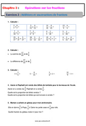 Additions et soustractions de fractions - Révisions - Exercices avec correction : 1ere Secondaire