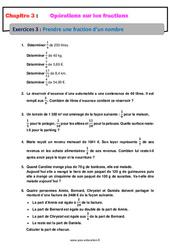 Prendre une fraction d'un nombre - Exercices avec correction : 1ere Secondaire