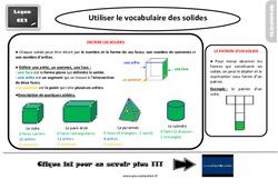 Leçon, trace écrite sur utiliser le vocabulaire des solides au  : 3eme Primaire