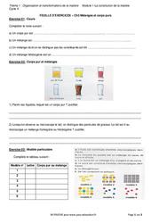 Mélanges et corps purs - Exercices avec les corrections : 1ere Secondaire