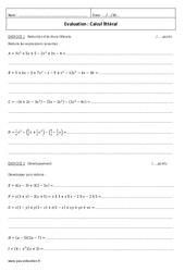 Calcul littéral - Examen Contrôle : 2eme Secondaire