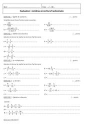 Nombres en écriture fractionnaire - Examen Contrôle : 2eme Secondaire