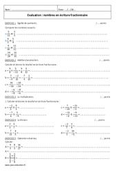 Ecriture fractionnaire - Examen Evaluation à imprimer : 2eme Secondaire