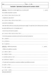 Opérations - Calculs dans les nombres relatifs - Examen Contrôle : 2eme Secondaire