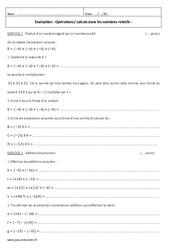 Nombres relatifs - Examen Evaluation à imprimer : 2eme Secondaire