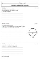 Distances et tangentes - Examen Contrôle : 2eme Secondaire
