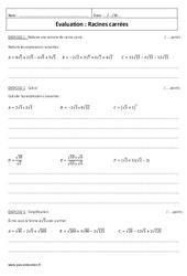 Racines carrées - Examen Contrôle à imprimer : 3eme Secondaire