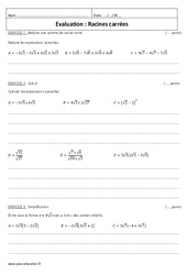 Racine carrée - Examen Evaluation avec le corrigé : 3eme Secondaire