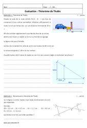 Théorème de Thalès - Examen Evaluation : 3eme Secondaire