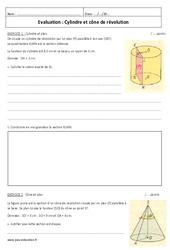 Cylindre et cône de révolution - Examen Contrôle : 3eme Secondaire