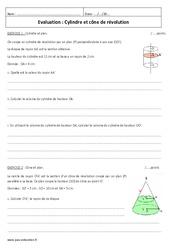 Cône de révolution - Cylindre - Examen Evaluation : 3eme Secondaire