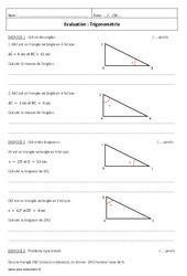Trigonométrie - Examen Contrôle : 3eme Secondaire