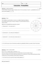 Probabilités - Examen Contrôle : 3eme Secondaire