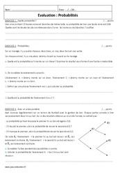 Probabilités - Examen Evaluation à imprimer : 3eme Secondaire