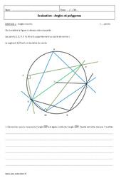 Angles et polygones - Examen Contrôle avec le corrigé : 3eme Secondaire