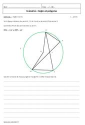 Polygones et angles - Examen Evaluation à imprimer : 3eme Secondaire