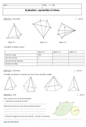 Pyramides et cônes - Examen Contrôle : 2eme Secondaire